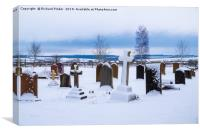 Snow Covered Yorkshire Graveyard., Canvas Print