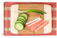 Crab sticks of surimi and cucumber with chives , Canvas Print