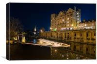 The Empire and weir, Grand Parade, Bath, Canvas Print