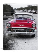 Classic red antique car at the beach, Canvas Print
