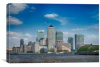 Canary Wharf in London's Docklands viewed from The, Canvas Print