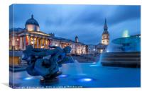 Trafalgar Square Fountain London England, Canvas Print