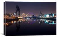 The Clyde on Fireworks night , Canvas Print