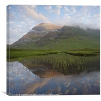 Buachaille Etive Mor reflected in Lochan na Fola, Canvas Print