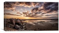 Fleetwood Beach Sunset, Lancashire, Canvas Print