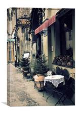 Street cafe in the old town in Krakow, Canvas Print
