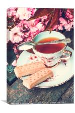 Still life with English cup of tea and shorbread, Canvas Print