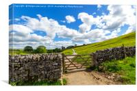 Old, stone wall on the way to Malham Cove Yorkshir, Canvas Print
