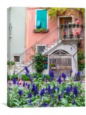A pretty corner in a countryside village of Italy, Canvas Print