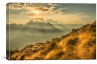 The Sun Sets Over The Mountains, Canvas Print