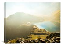 Misty Autumnal Weather over the Mountain Lake, Canvas Print