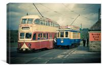 At The Tram Stop, Canvas Print