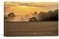 Combine at sunset, Canvas Print