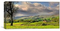 """""""EVENING LIGHT AND STORMY SKIES OVER WENSLEYDALE"""", Canvas Print"""