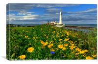 """ Wild Flowers at St.Mary's Lighthouse"", Canvas Print"
