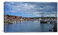 """Busy day at Whitby Harbour"", Canvas Print"