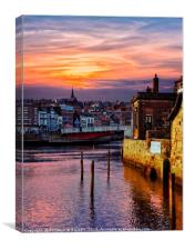"""Golden sunset at Whitby"", Canvas Print"
