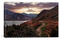 """Evening Light at Ennerdale water, Canvas Print"