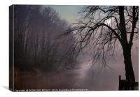 """a chink of Light by a misty lake"", Canvas Print"