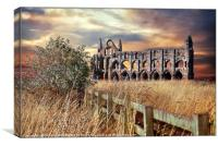 """breezy sunset at Whitby Abbey"", Canvas Print"
