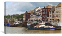 """Old boats at Maryport harbour"", Canvas Print"