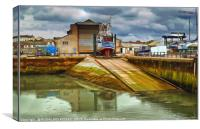"""Stormy skies at the boat yard"", Canvas Print"