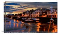 """""""Night time reflections at Maryport harbour"""", Canvas Print"""