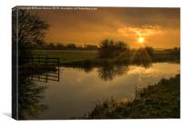 Sunset over the Grantham Canal, Canvas Print