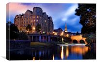 Bath, Somerset and the River Avon at Dusk, Canvas Print
