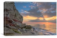 Hunstanton sunset cliffs, Canvas Print