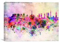 Tokyo skyline in watercolor background, Canvas Print