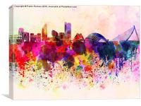 Valencia skyline in watercolor background, Canvas Print
