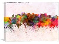 Oakland skyline in watercolor background, Canvas Print