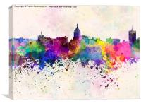 Fresno skyline in watercolor background, Canvas Print