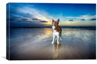 On the Beach at Sunset, Canvas Print