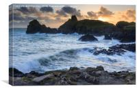 The Setting Sun at Kynance Cove, Canvas Print