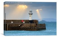 Light Shafts over Smeaton's Lighthouse (St Ives), Canvas Print