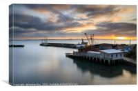 Sunrise over the dry dock at Newlyn, Canvas Print