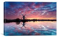 Thurne Windmill at Sunrise, Norfolk Broads., Canvas Print