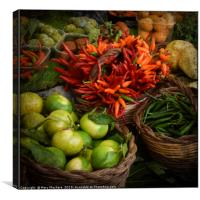 Red, Orange and Green Peppers at the Market, Canvas Print