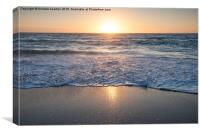Sunset on Fistral beach, Newquay, Cornwall, Canvas Print