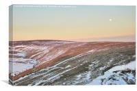 Moon rising above the snowy moors, Canvas Print