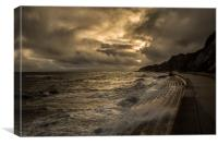 A stormy day at Bonchurch, Canvas Print