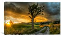 Sun setting over Embsay, Canvas Print