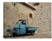 Ancient Italian Piaggio parked by the bar !, Canvas Print