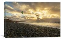 Newborough early morning surf., Canvas Print