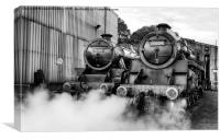 Steam loco's Sir Eric Treacy and The Green Knight, Canvas Print