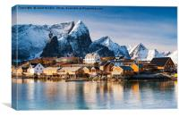 Winter at Sakrisoy Village on the Lofoten Islands, Canvas Print