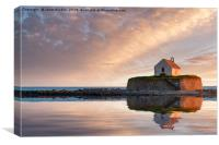 St Cwyfan's Church at Sunset, Canvas Print