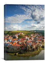 Late afternoon light on the village of Staithes, Canvas Print